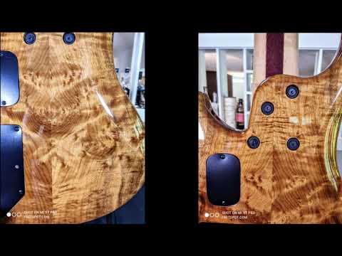 Roscoe LG5 Myrtle Burl top and back, Purpleheart fingerboard, Maple/Purpleheart neck.